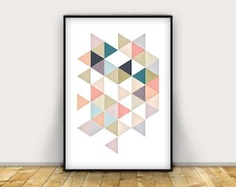 Geometric Art Print, DOWNLOADABLE Wall Art, Digital Art, Abstract Art Prints, Large Poster, Teen Room Decor, Teen Art, Office Decor, Geo Art