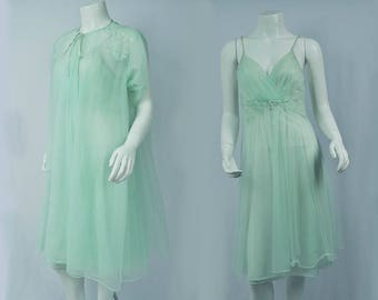 1960s Green Lingerie Set Chiffon Robe and Slip Dress/ Negligee Boudoir Gown/Vintage Valentines Gift