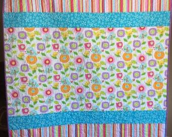 SALE Baby Quilt Girl, Flowers Stripes, Nursery Bedding Pink, Crib Bedding Blue, Baby Blanket Yellow, Baby Quilt Handmade,
