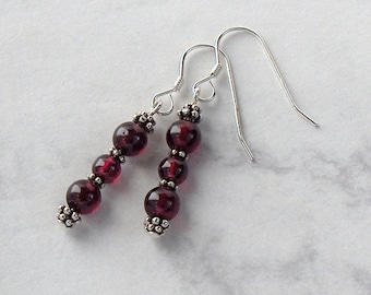 Garnet Bead Dangle Earrings Pewter Bead Accents, Sterling Silver Earwires - Metaphysical Protection and Healing
