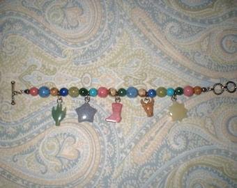 SALE  Southwestern COWGIRL Cowboy Bracelet semi-precious stones with charms like Jes Maharry
