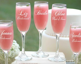 Personalized Wedding Gift, 6 Bridesmaid Champagne Glasses Custom Bridal Party Gift, Engraved Champagne Flutes, Champagne Toast Wedding Party