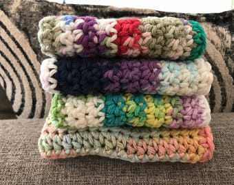 Cotton Dishcloths set--Crocheted with 100% cotton--Set of 4