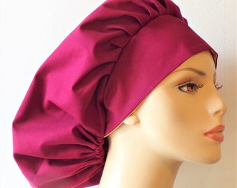 Bouffant Satin Lined Scrub Hat Kona Cotton with Satin Lining/ Scrub Cap/Women Scrub/Cotton Outside Satin Inside