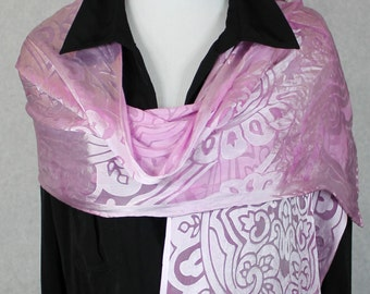 "Soft Pink Devore Satin Scarf, Hand Dyed 14""x72"" Arabesque style cut out, art nouveau silk scarf"