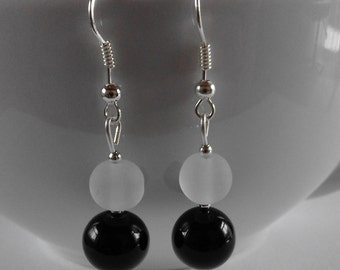 Black Onyx and White Glass Bead drop Earrings for pierced ears.