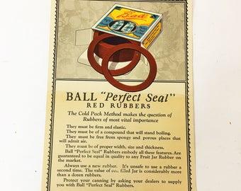 Ball Jar Perfect Seal Original Advertising circa 1930. Vintage marketing material. Ball Jar Mason Jar lover gift. Ephemera. Marketing Ad