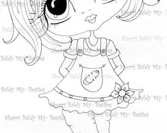 INSTANT DOWNLOAD Digital Digi Stamps Big Eye Big Head Dolls Digi   Besties IMG239  By Sherri Baldy