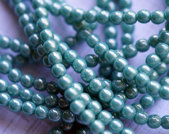 4mm Round Druk Beads - Turquoise Luster - Premium Czech Glass Beads - Bead Soup Beads