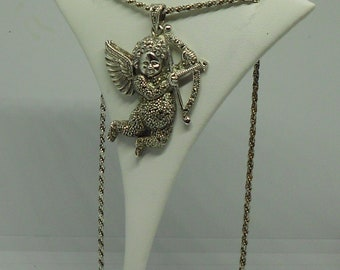 """Sterling Silver and Marcasite Cupid Pendant with 18"""" Necklace."""