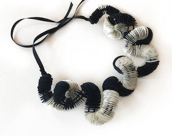 Black and white paper necklace, paper jewelry, necklace with beads, necklace for her, for the wife, for mom, unique jewelry
