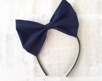 Navy blue bow headband Rockabilly Pin up girl