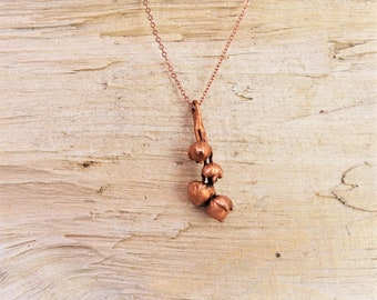 Electroformed Real Seed Buds Copper Necklace L23