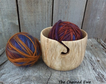 Wooden Yarn Bowl, Hand Turned Maple