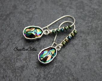 Crystal Scarab Earrings with Iridescent Swarovski Crystal Scarabs & Green Metallic Czech Beads Wire Wrapped on Silver Kidney Style Ear Wires