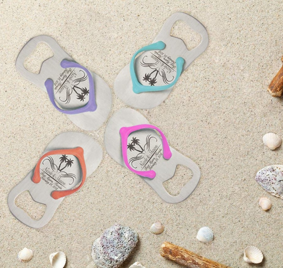10 Personalized Engraved Flip-Flop Bottle Openers | Baby Shower Gift ...