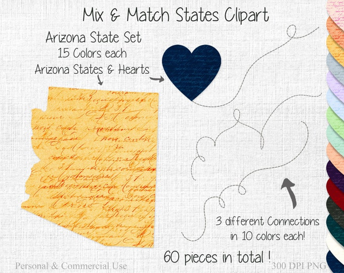 ARIZONA STATE to STATE Clipart Commercial Use Clipart Mix & Match Home States Wedding Clipart Arizona Heart Map Clipart United States Shapes