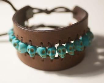 leather cuff, skull leather cuff, leather bracelet