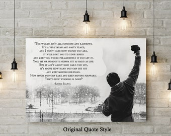 Rocky Inspired Motivational Art,  World Ain't Rainbows, Inspirational Quote, Custom Raised Canvas Art