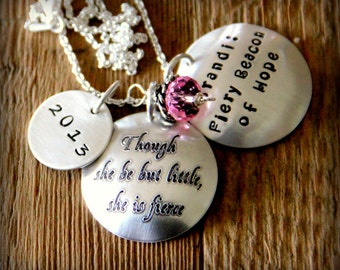 Though She Be But Little She is Fierce Necklace, Shakespeare Quote, Literature, Survivor Necklace, Breast Cancer