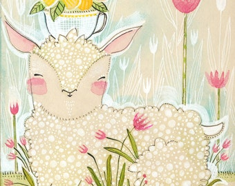 Easter Art Print, Decoration, Spring Lamb  8 x 10 watercolor illustration Animal Themed Nursery Baby Room Seasonal Decorating Ideas