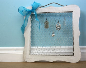 Rustic wood earring frame, Earring display, Jewelry organizer, Wall hanging earring display, Rustic cottage decor