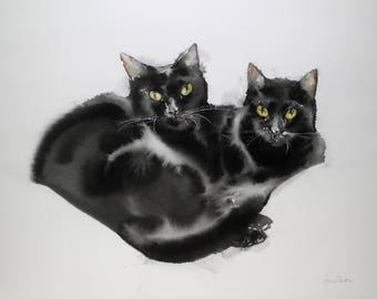 Cat friends - Original watercolor painting