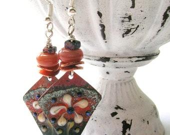 Enameled Copper Floral Artisan Earrings - Rustic Handmade Earrings