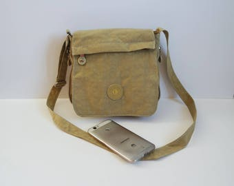 Vintage  Khaki Crossbody Bag, Synthetic Material Crossbody Bag, Shoulder Bag