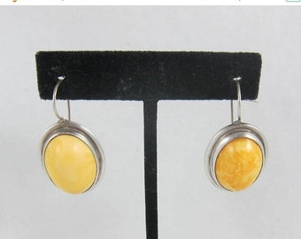 ON SALE Large Sterling Silver Butterscotch Egg Yolk Amber Cabochon French Wire Pierced Earrings
