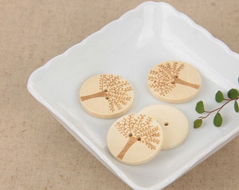 5 pcs Leaf Pattern Wooden Buttons 30mmx30mm(54-1)