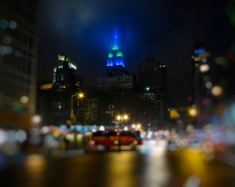 New York City Photograph, Empire State Building at Night, Blue, Green, Bokeh, Landscape, Fog, Art Print, Seattle Seahawks, Super Bowl
