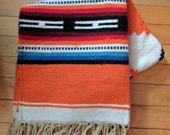 Vintage Wool Mexican Saddle Blanket or Rug
