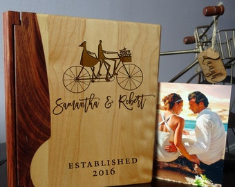 Custom Engraved wood Photo Album, Personalized photo album - 107design
