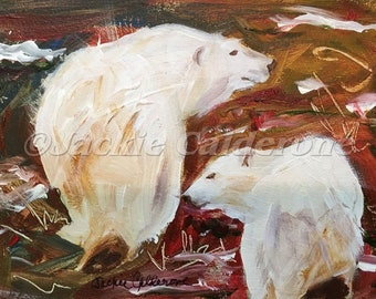 Acrylic Painting, Original Painting, Polar Bear Painting, Colorful Painting, Wall Art Decor, Keepsake Gift, Mother & Child, Wildlife Art