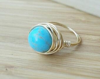 Turquoise Gold Ring - Turquoise Ring - Turquoise Jewelry - Turquoise Gold Jewellery - Gold Turquoise Ring - Gold Gemstone Ring - Gemstone