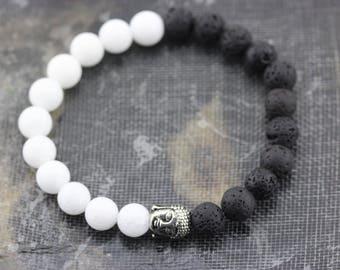 "Lava Stone+White Jade Bracelet w/Silver Plated Buddha Head Length 7.5"" w/Elastic Cord. B-LAV-0199"