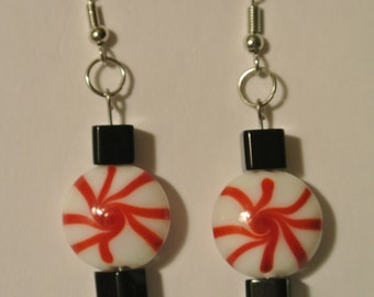 Red and White Peppermint with Black Square Beads and Silver Fishhook