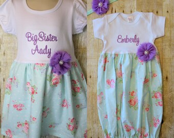 Big Sister Little Sister Dresses - Baby Announcement Dress - Aqua & Pink Roses - Polka Dot - Baby Shower Gift - With Headband