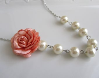 Wedding jewelry, wedding jewelry for brides, ivory pearl necklace, pearl bridal, jewelry for bridemaids,  salmon fabric, salmon flowers