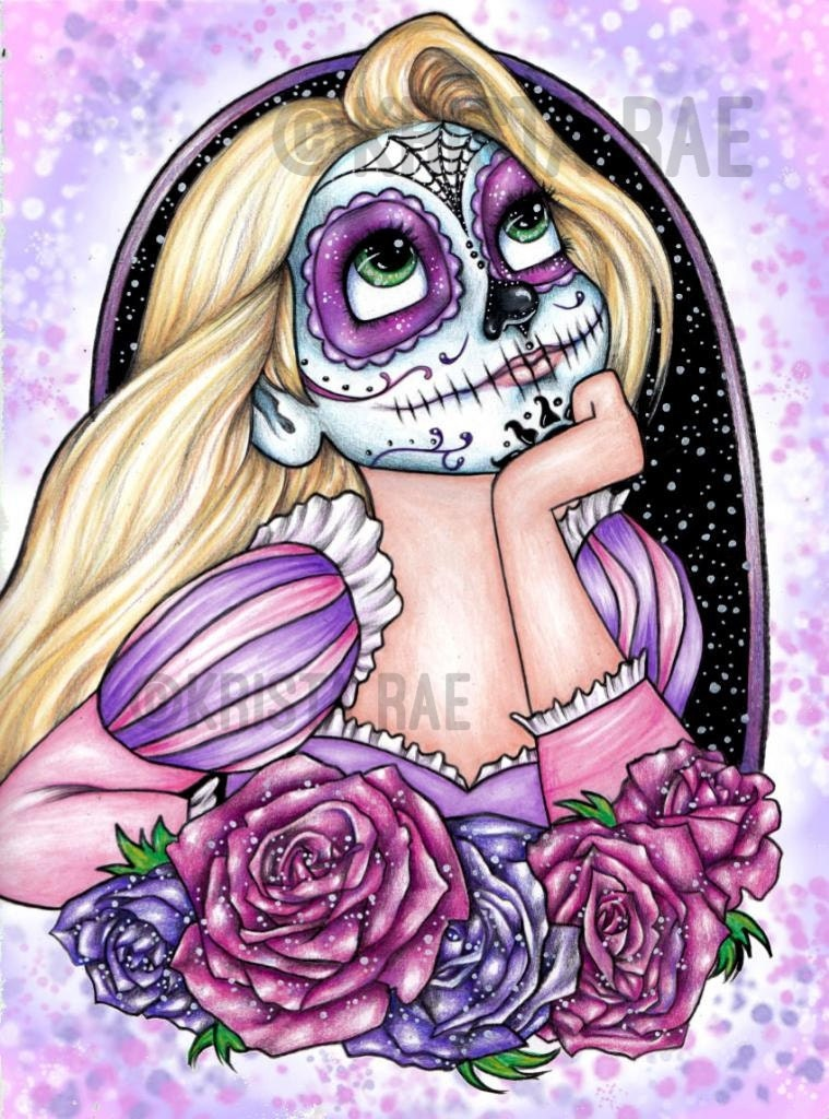 sugar skull coloring pages princess - photo#25