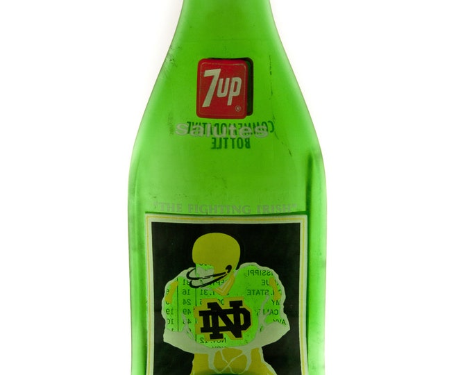 Notre Dame Vintage 1977  7-up Bottle MELTED Flat to hang on the wall