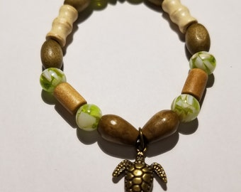 Wooden Bead Turtle Bracelet