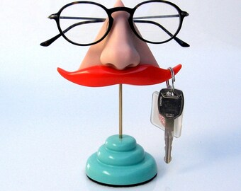 Nose Eyeglasses Gadget Stand,  desk accessory, Ginger Mustache Key Hook, functional figurine, men, Father, quirky odd funny beautiful
