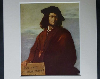 1950s Vintage Salvator Rosa Self Portrait Print of Philosophy, Baroque Gift, Silence Decor, Available Framed, Italian Art, Library Wall Art