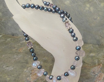 Black Pearl Necklace ~ Iridescent Peacock Pearls with Lite Amethyst Teardrop Fan ~ Freshwater Cultured Pearls ~ 18 inches