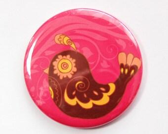 Pocket mirror, Bird Mirror, gift for her, purse mirror, Brown, Pink, Bird (3643)