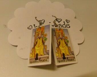 Tarot Card Earrings:Queen of Wands