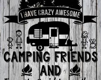 i have crazy awesome camping friends svg