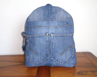 Recycled denim canvas backpack